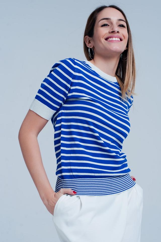 Kurzarm-Blau Pullover mit glitzernden Streifen