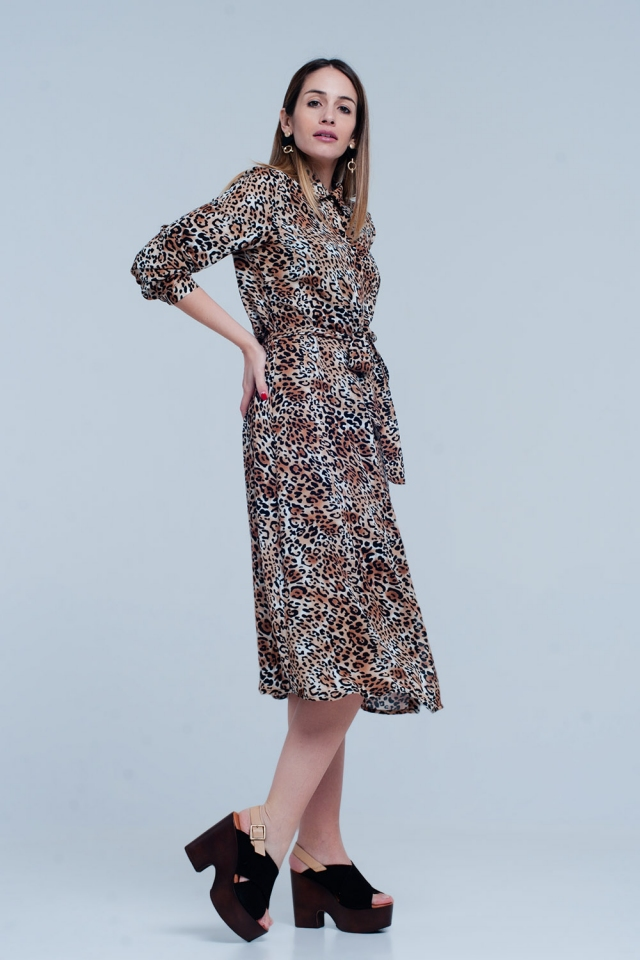 Brown Leopard Midi Dress with bow