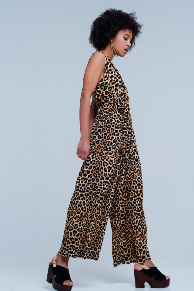 Braun Leopard Print Overall