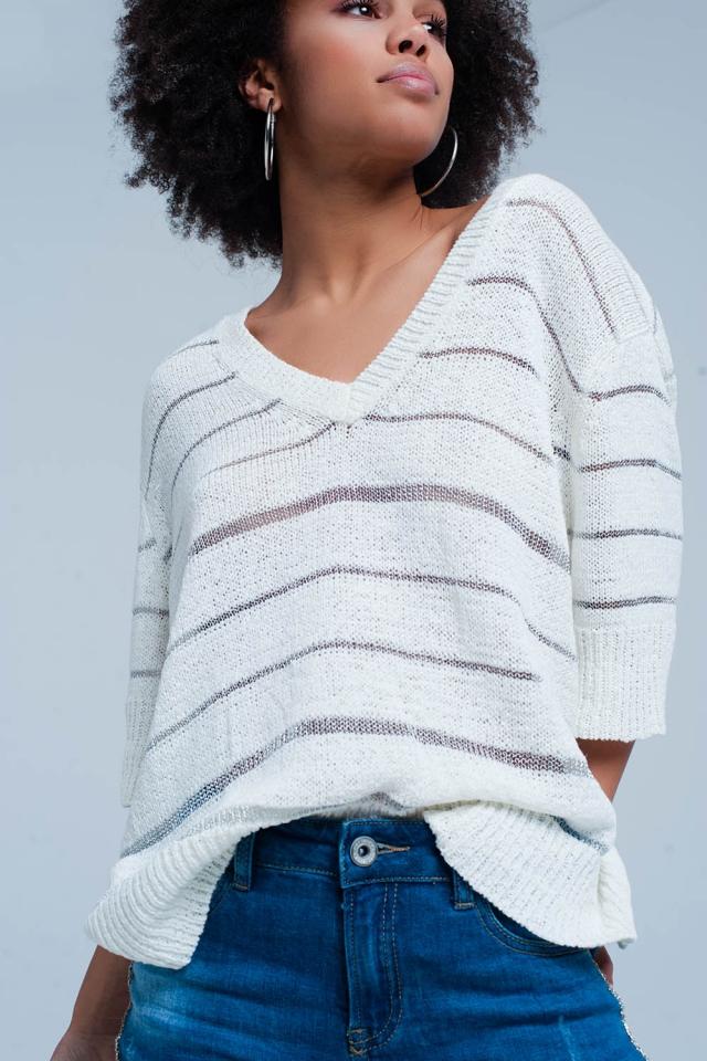 White V-neck Sweater with Metallic Stripes
