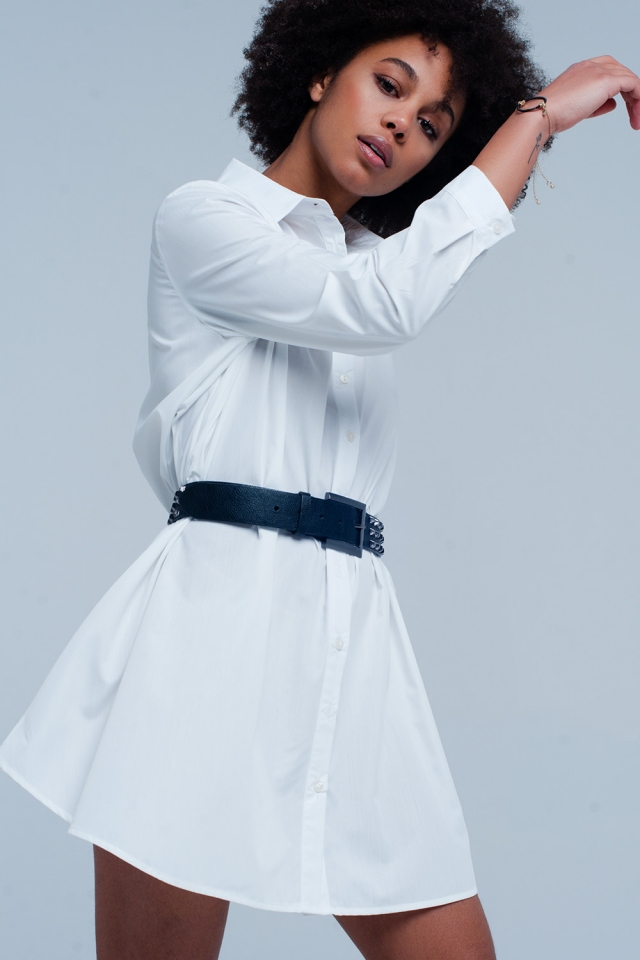 weiße popline Langes Hemdkleid