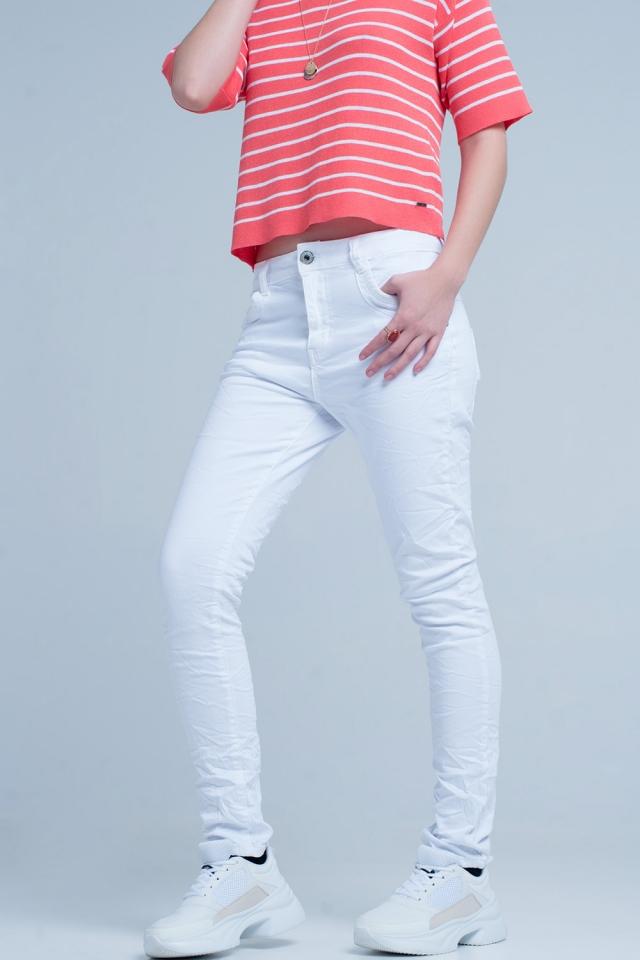 White Wrinkled Skinny Jeans
