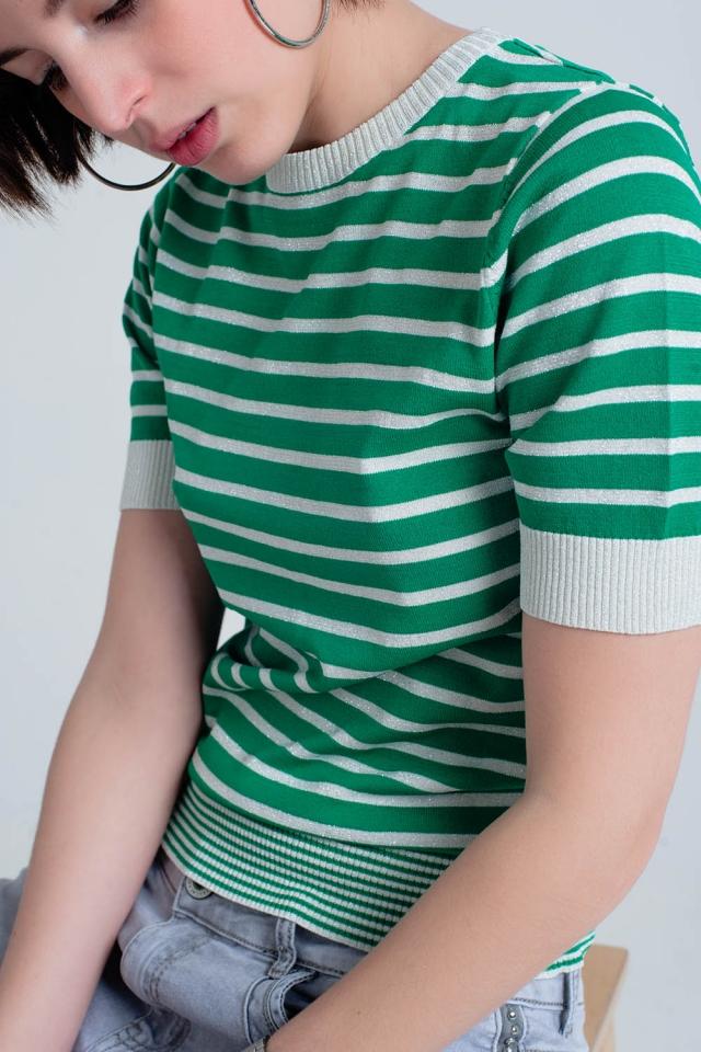 Kurzarm-grüne Pullover mit glitzernden Streifen