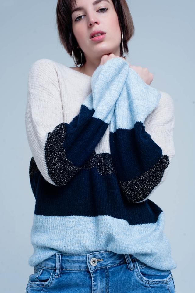 blaue gestreifter Pullover mit Glitzer