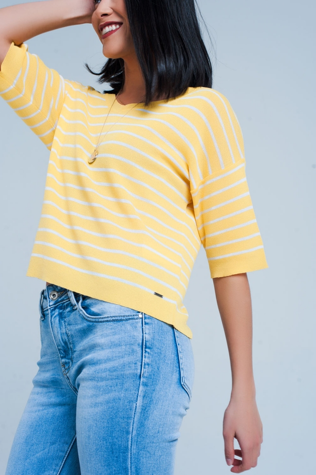 Yellow Striped Short Sleeve V-neck Sweater