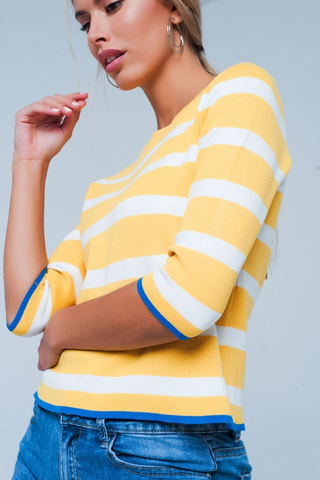 Cropped sleeve yellow sweater in stripe