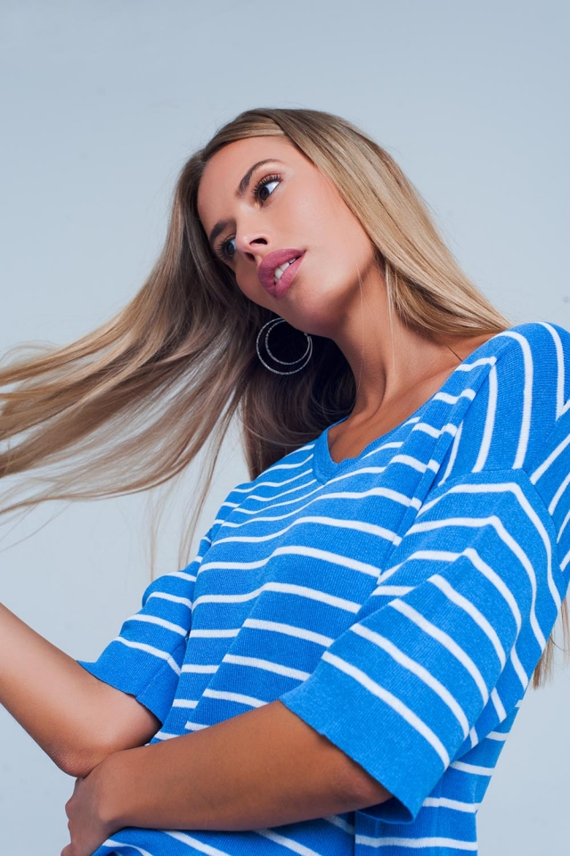 Blue Striped Short Sleeve V-neck Sweater