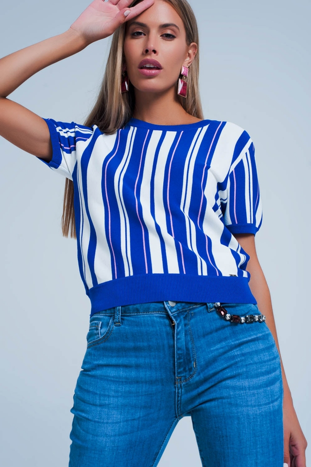 Blue Vertical Stripe Short Sleeve Sweater