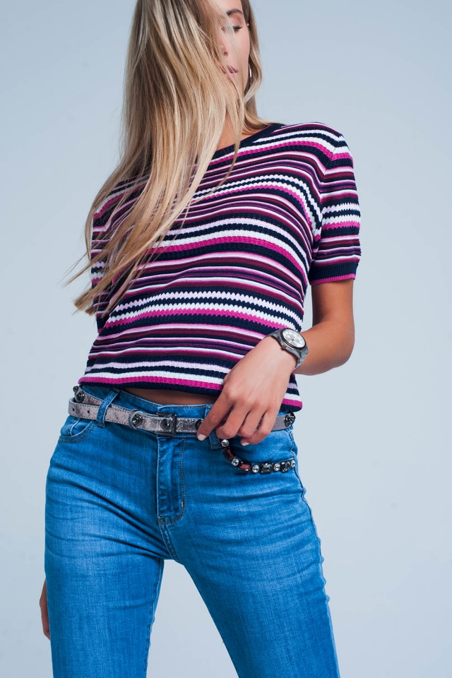 Lila Geripptes kurzärmliges Pullover