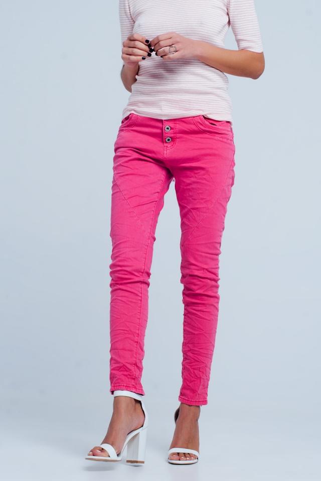 Boyfriend-Jeans Fuchsia mit tiefer Taille