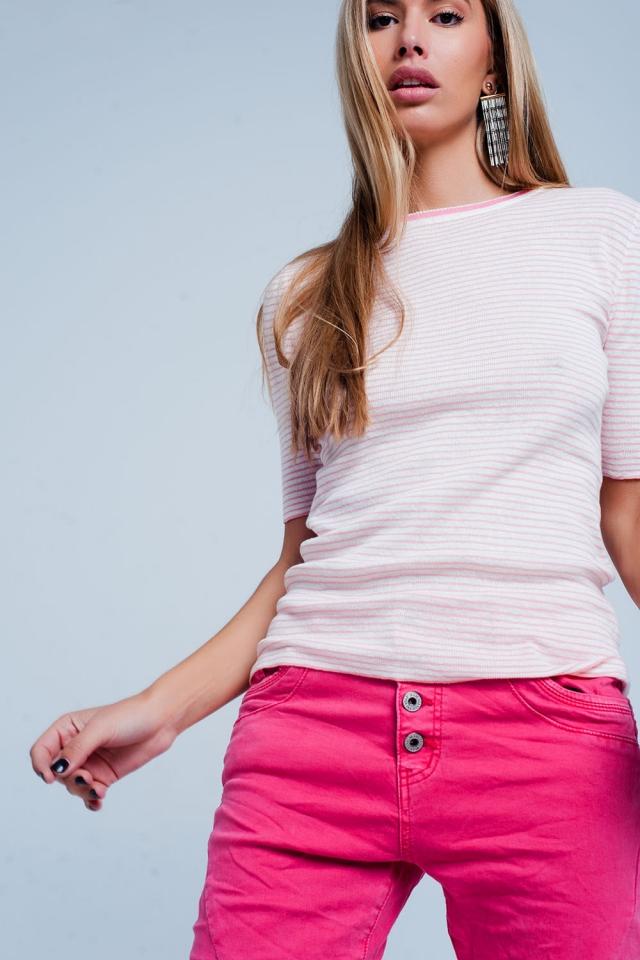 Pink Cropped Sleeve Sweater in Breton Stripe