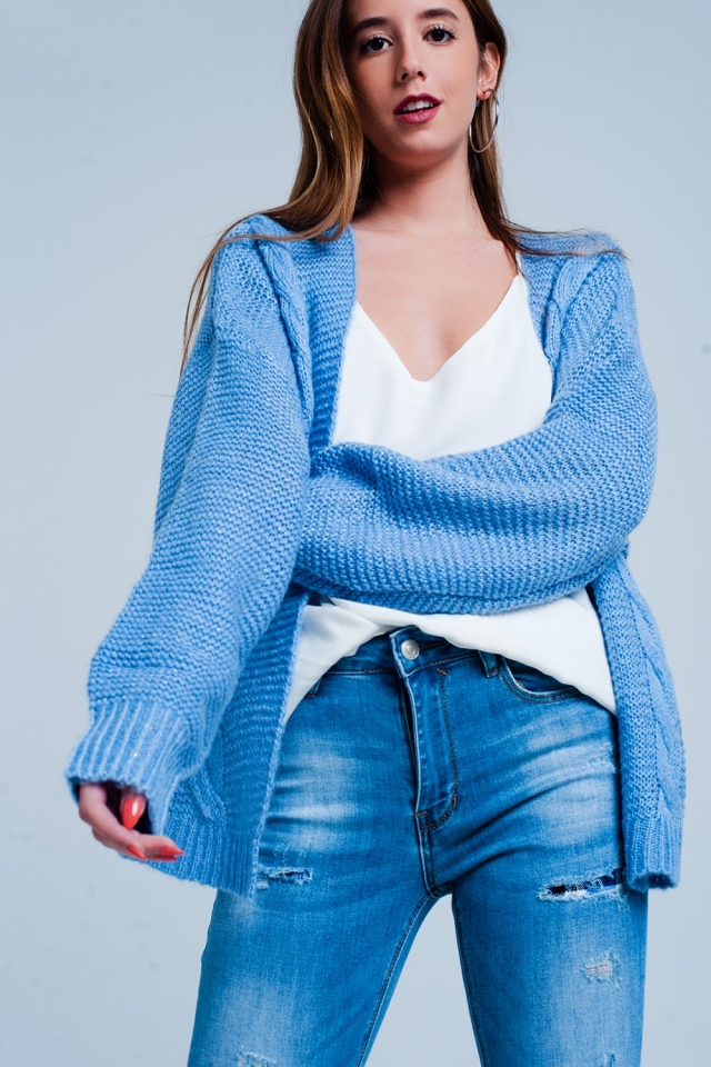 Oversize-Strickjacke blau mit Zopfmuster