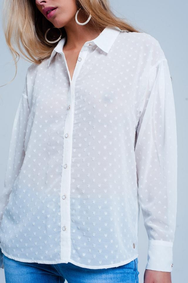 transparentes Hemd Weiß mit dezenten Punkten