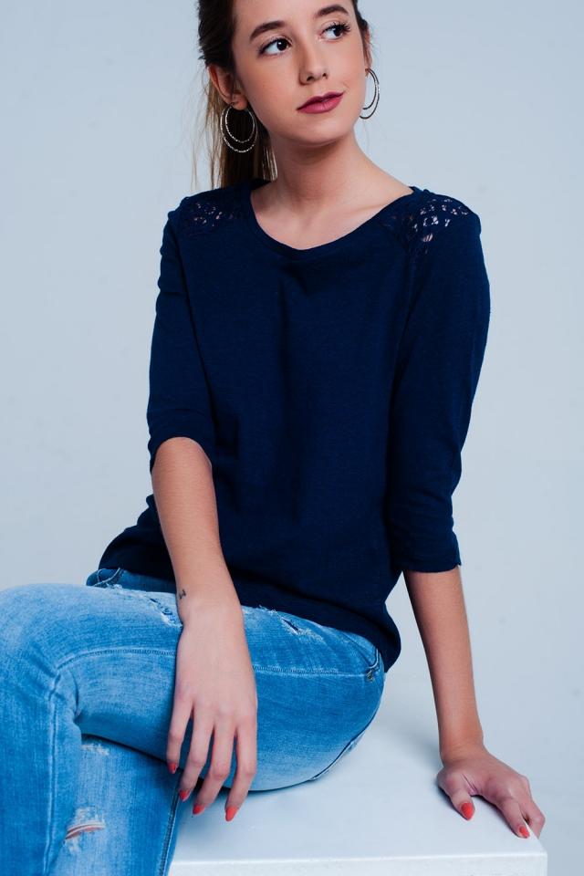 3/4 length sleeve plain Blue top with Crochet Insert