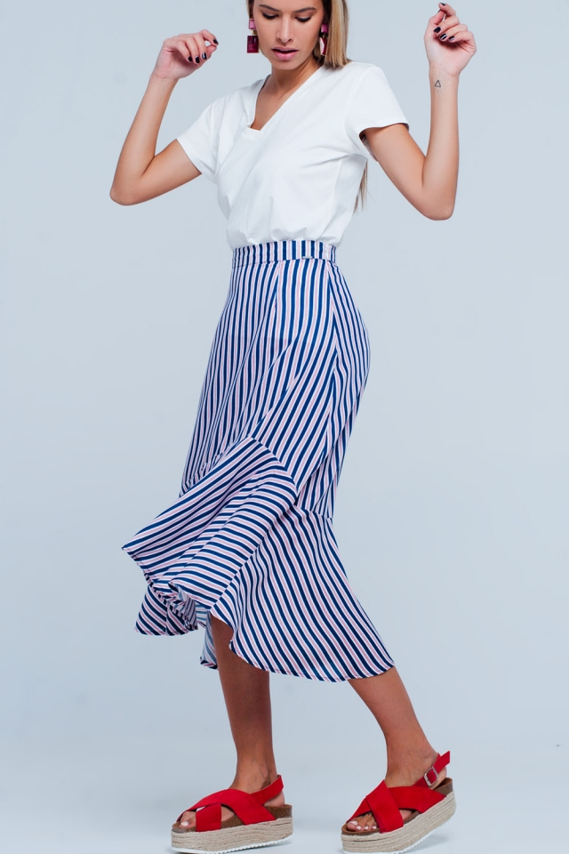 Navy stripe asymetric hem midi skirt