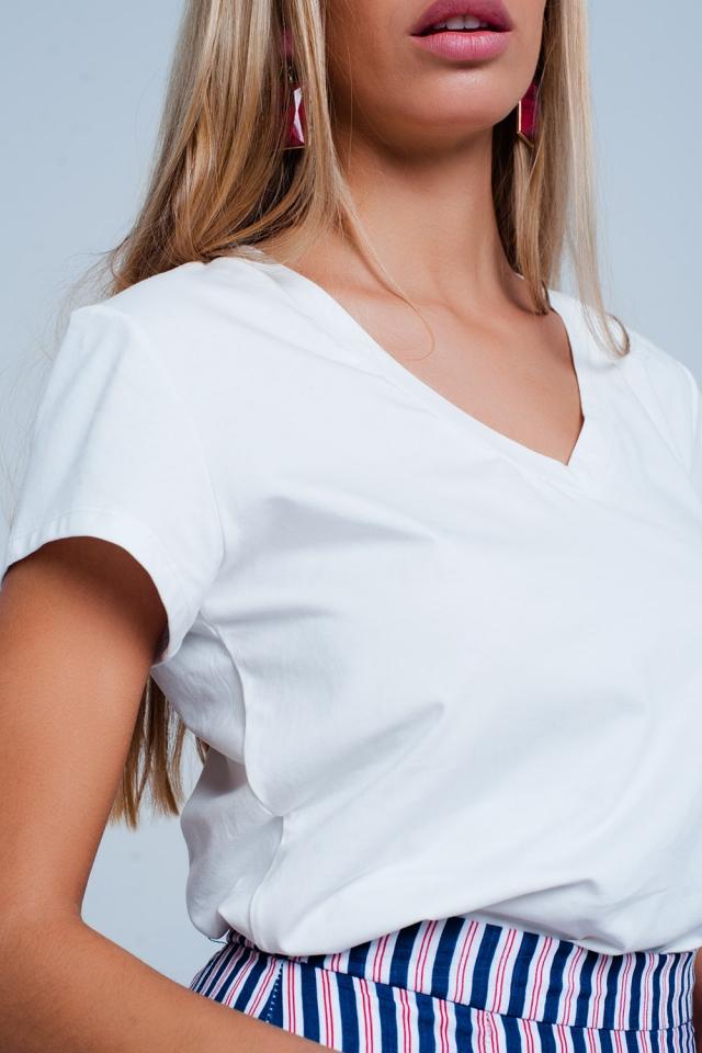 Kurzarm-basic weißen T-shirt mit v-Ausschnitt