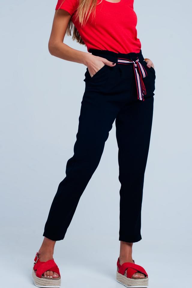 Paper bag waist tie front pants in navy colour