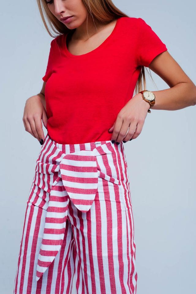 Red Denim Tie Waist Pants in stripe