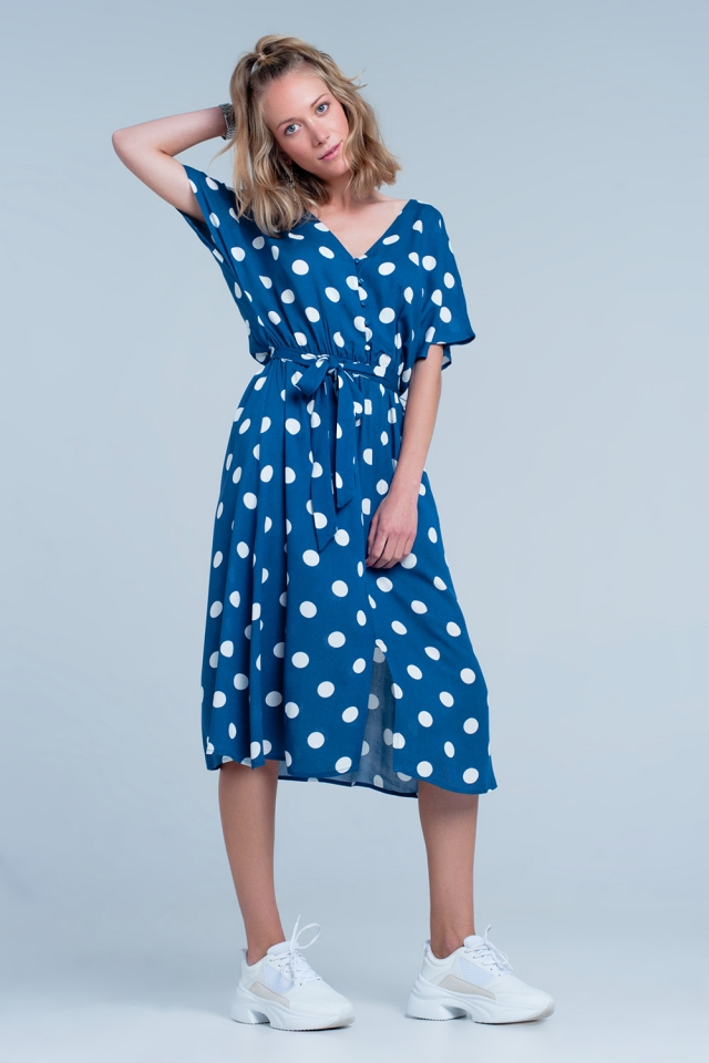 Polka dot dress in blue