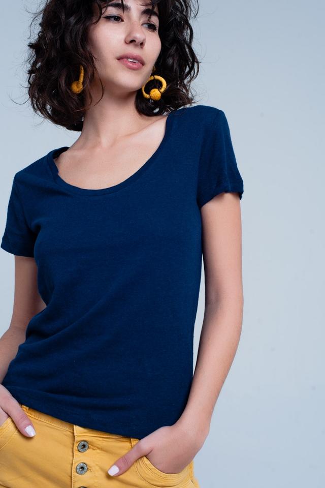 Navy wide neck T-shirt