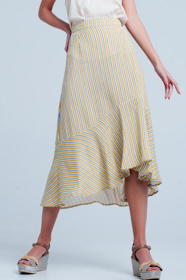 Mustard stripe asymetric hem midi skirt