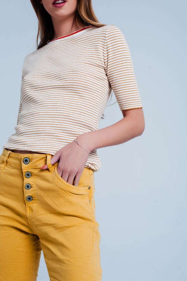 Senf pullover mit kurz geschnittenen Ärmeln und Bretonstreifen