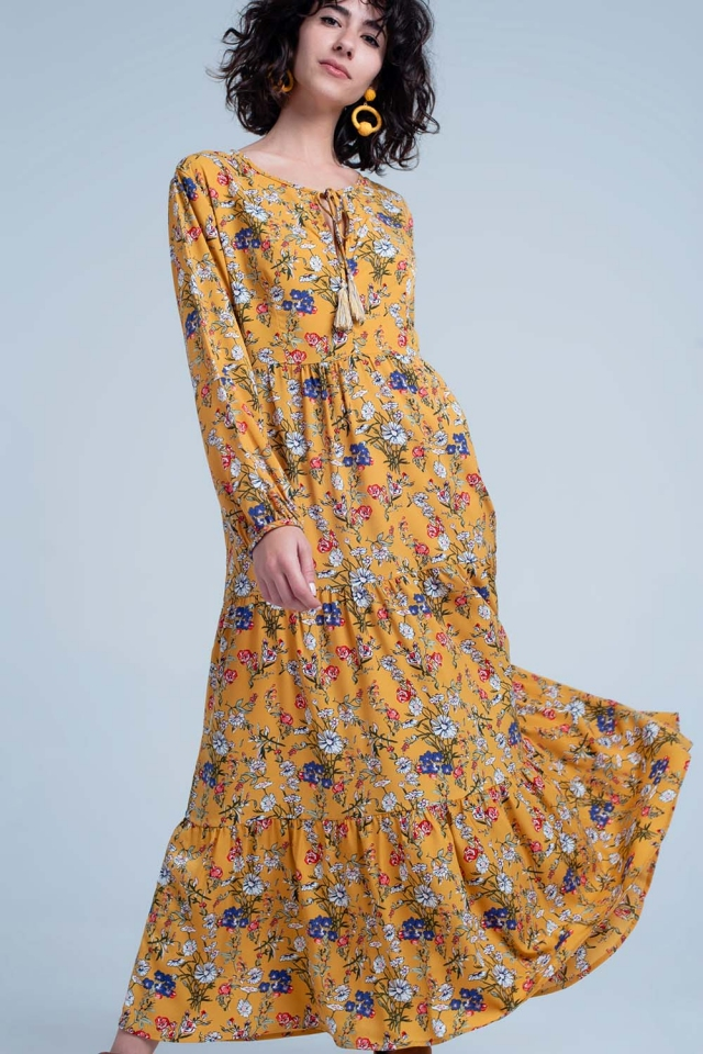 Yellow dress with floral print