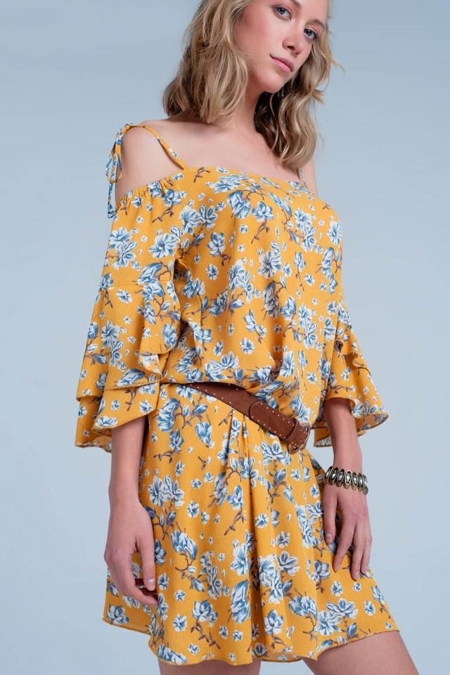 Gelb Geblümtes Kleid mit freier Schulter