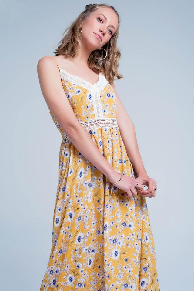 Gelb Maxikleid mit Spaghettiträgern und Blumenprint