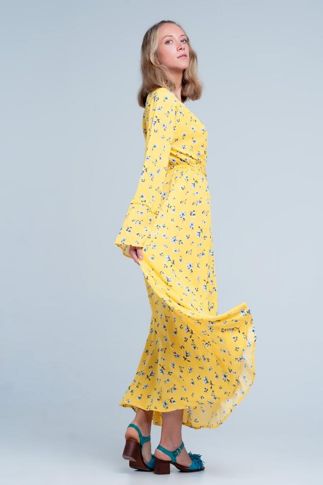 Gelb Langes Hängerkleid mit Vintage-Blumenmuster