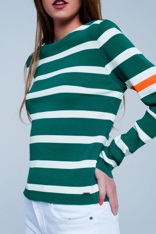 Grün Pullover mit Breton-Blockstreifen