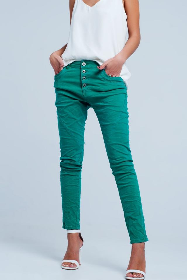 Original Boyfriend-Jeans in Grün kleur