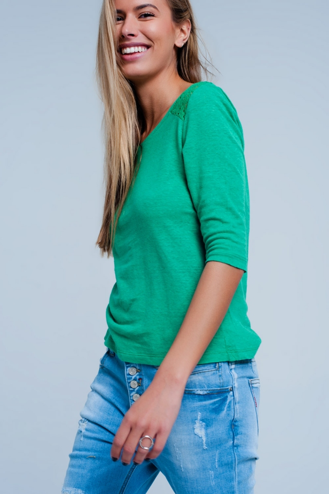 3/4 length sleeve plain green top with crochet Insert