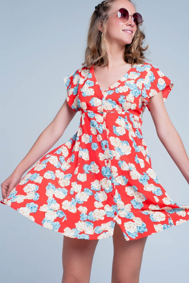 Red dress with flower print