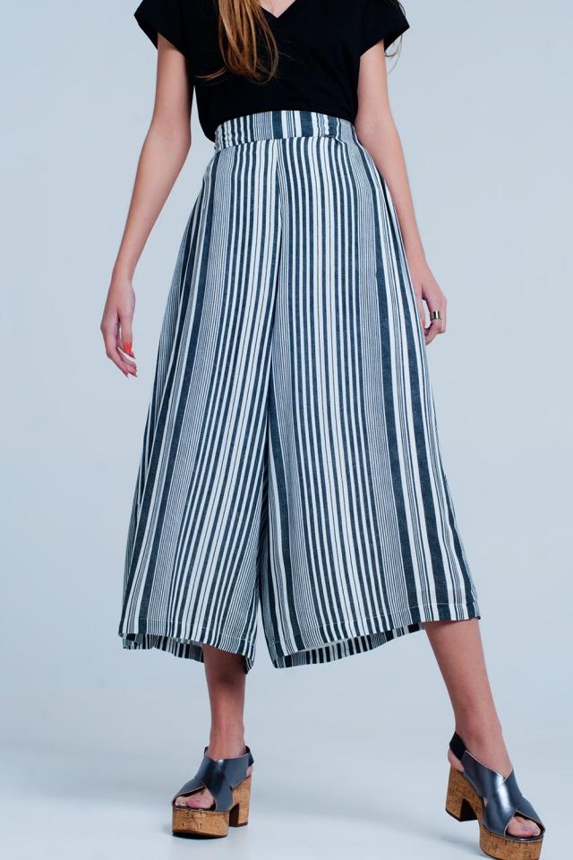Culottes in black stripe