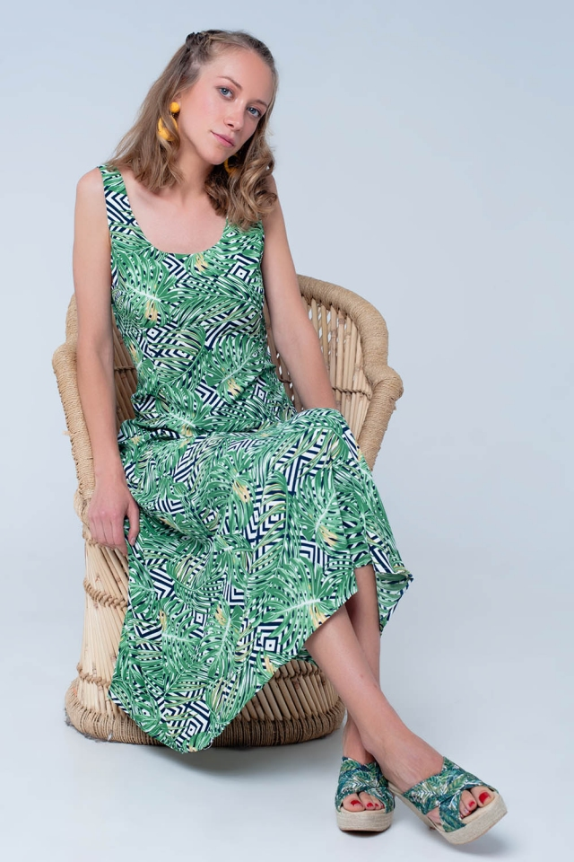 Green dress with plants print