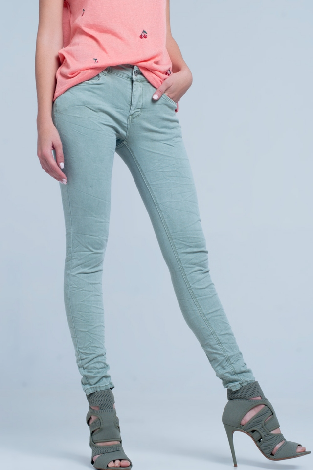 Grüne Fransen Jeans