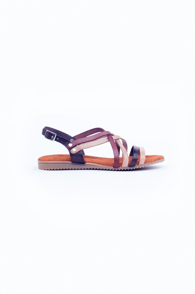 Brown strappy flat sandals