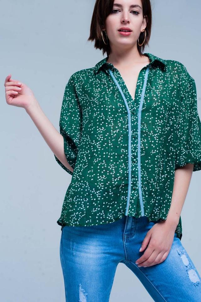Grüne Blumenmuster Bluse mit Taste