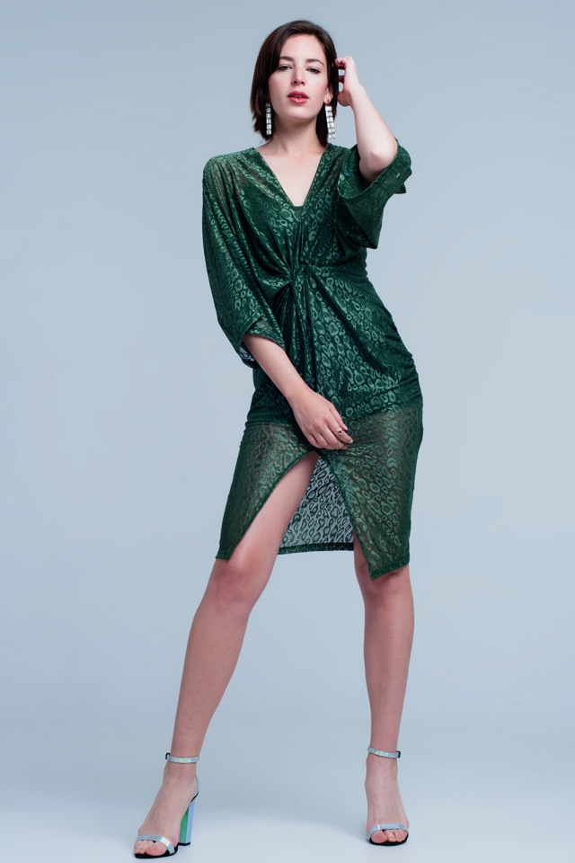Green dress with leopard print