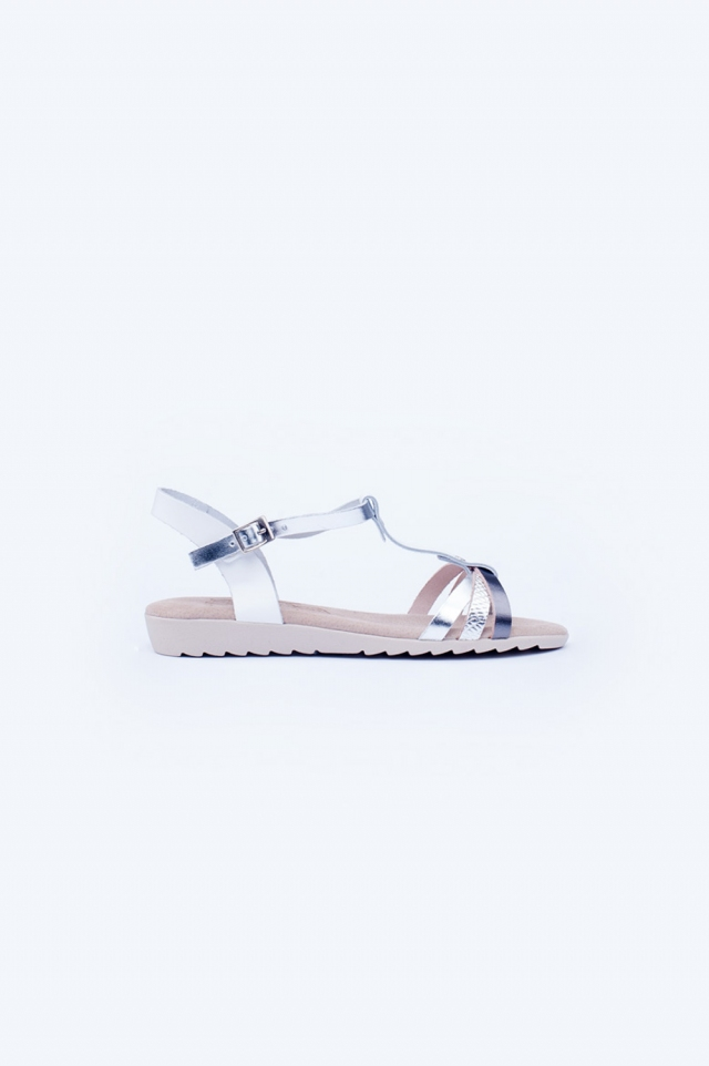 Sliver chunky flat sandals