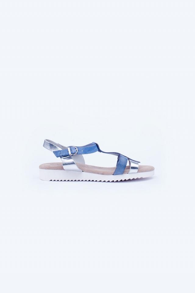Blue chunky flat sandals