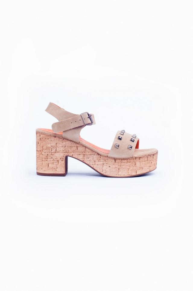Beige chunky heeled sandals