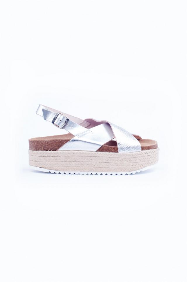Silver cross strap espadrille sandals
