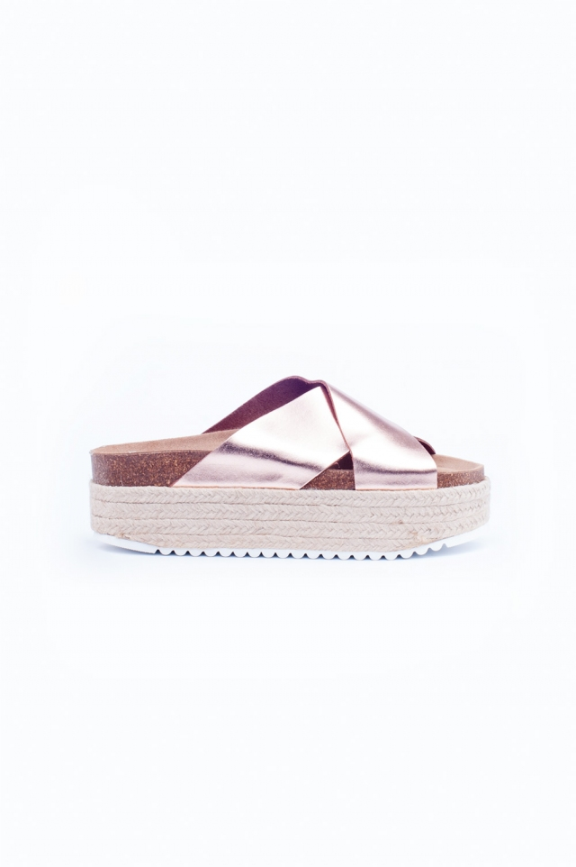 Rose gold cross strap espadrille sandals