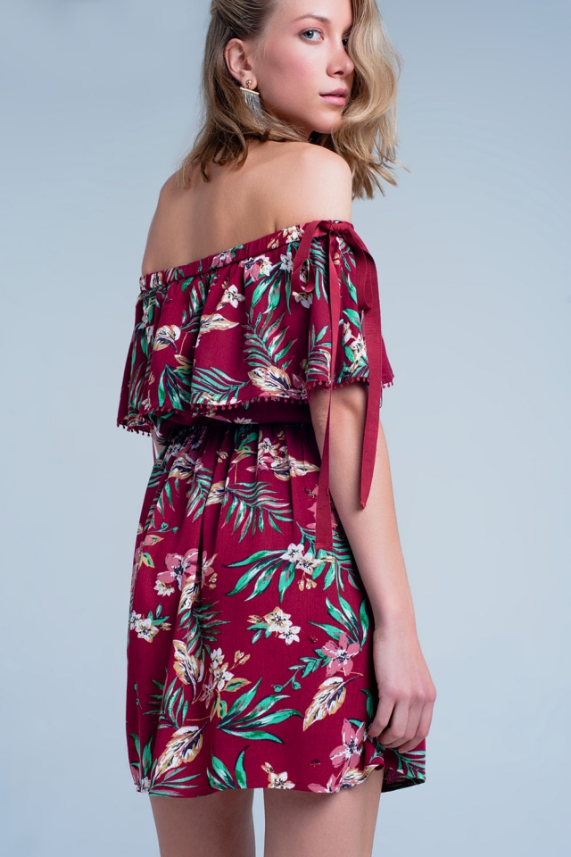 Maroon dress with flower print