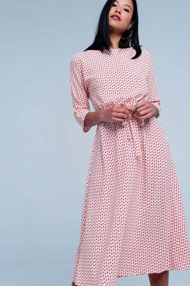 Beige dress with print