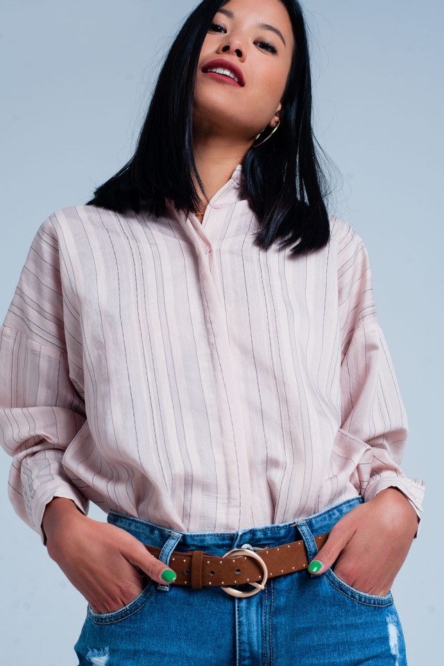Pink shirt with thin black stripes
