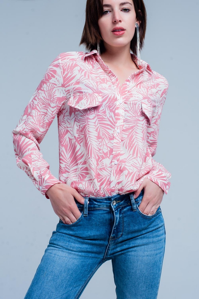 Floral blouse in pink