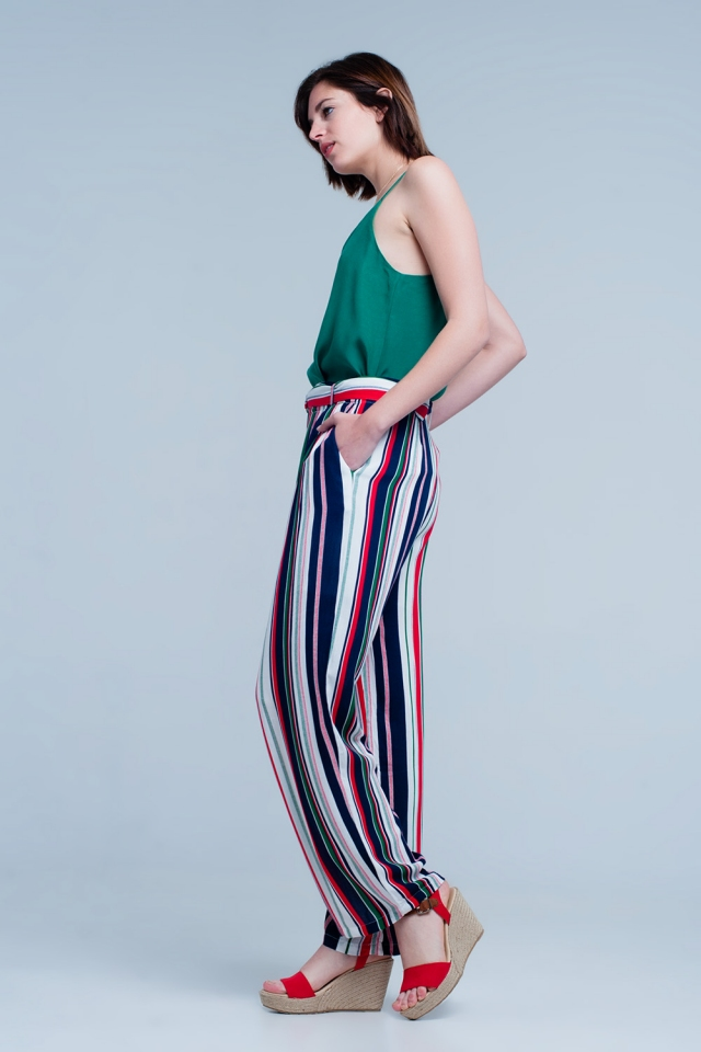 Striped pants in green